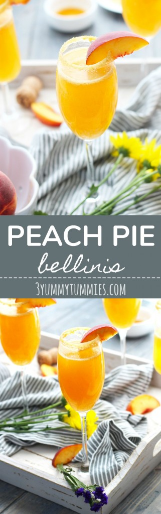 These Peach Pie Bellinis are bursting with peachy goodness with Moscato Champagen, peach puree, and peach schnapps.