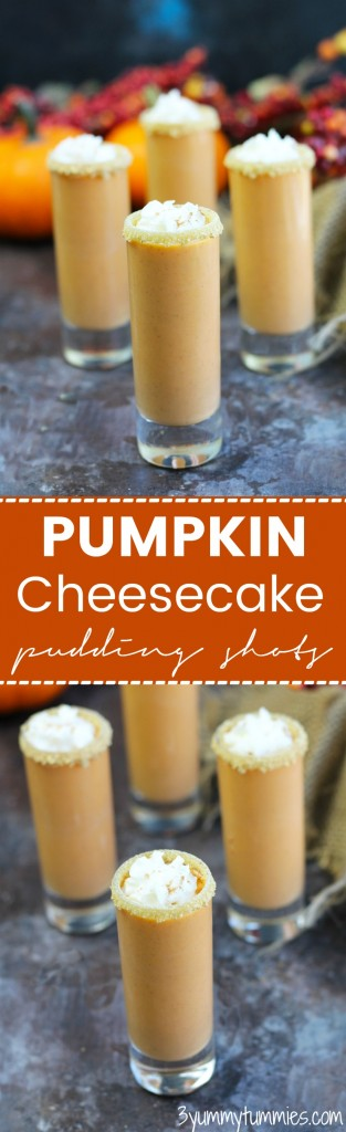 Drink your dessert with these Pumpkin Cheesecake Pudding Shots with vanilla ice cream.