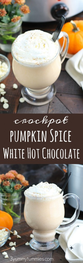 This Crockpot Pumpkin Spice White Hot Chocolate is perfect or holiday entertaining with pumpkin puree, sweetened condensed milk and white chocolate chips.  Add a shot of Rum Chata or Butterscotch Schnapps for the adult version!