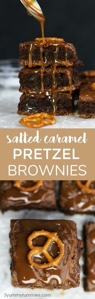These Salted Caramel Pretzel Brownies are perfectly thick and chewy with a pretzel crust and caramel sundae topping!