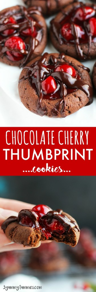 These Chocolate Cherry Thumbprint cookies are the perfect balance of soft and chewy with a delectable chocolate glaze topping!