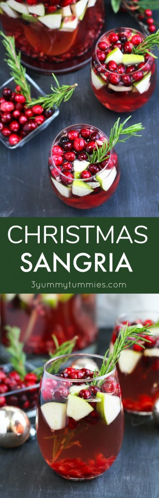 This festive, Christmas Sangria is perfect for holiday entertaining with pink Moscato and ginger ale.