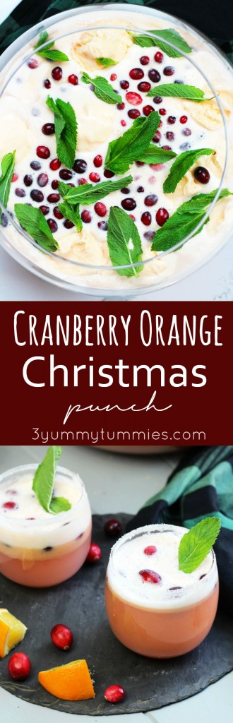 This Cranberry Orange Christmas Punch is perfect for pleasing a crowd!  This creamy punch gets a kick with Prosecco  and vodka.