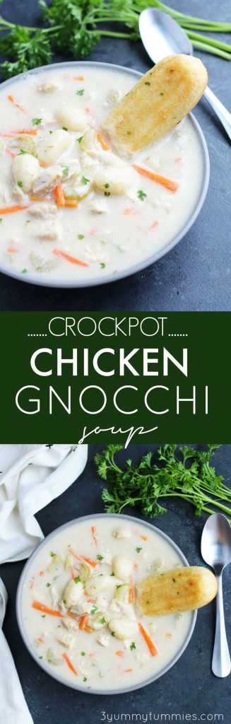 This Crockpot Chicken Gnocchi Soup is a super easy with the same great flavors as Olive Garden's recipe with carrots and celery.