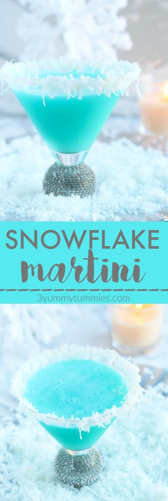 Create your own winter wonderland with this snowflake martini with coconut and pineapple flavors.