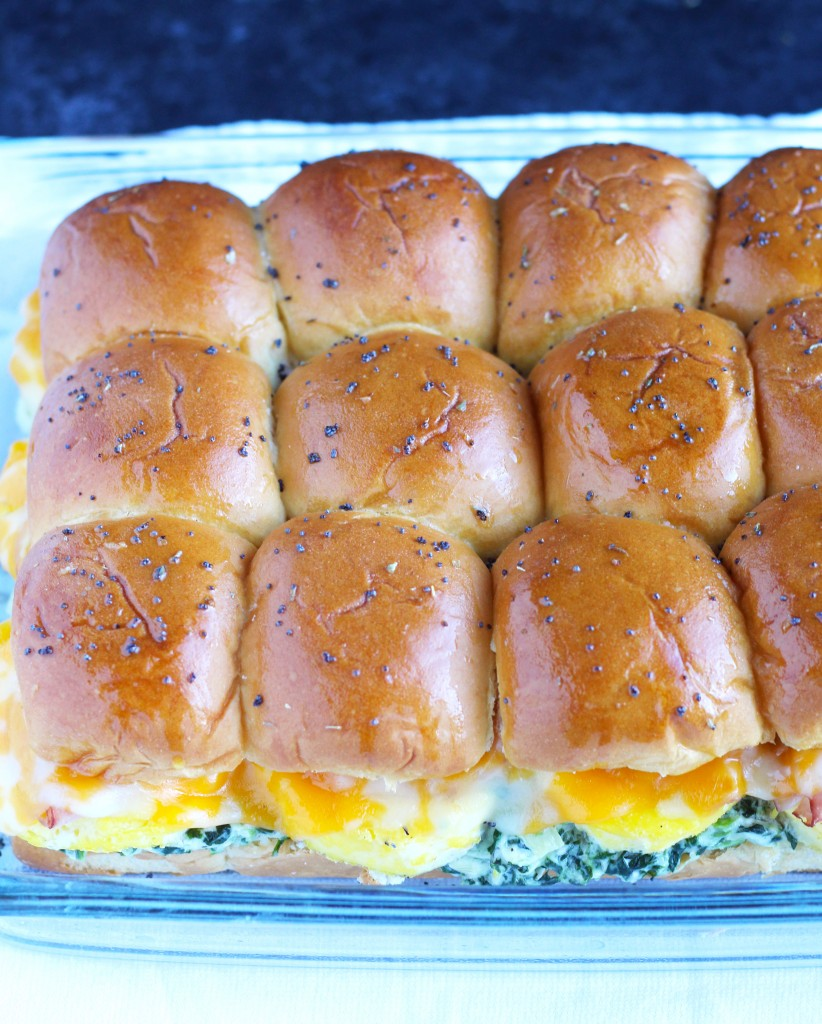 These Spinach Artichoke Dip Breakfast Sliders are filled with my favorite dip and topped with ham, egg and cheese on a Hawaiian roll.