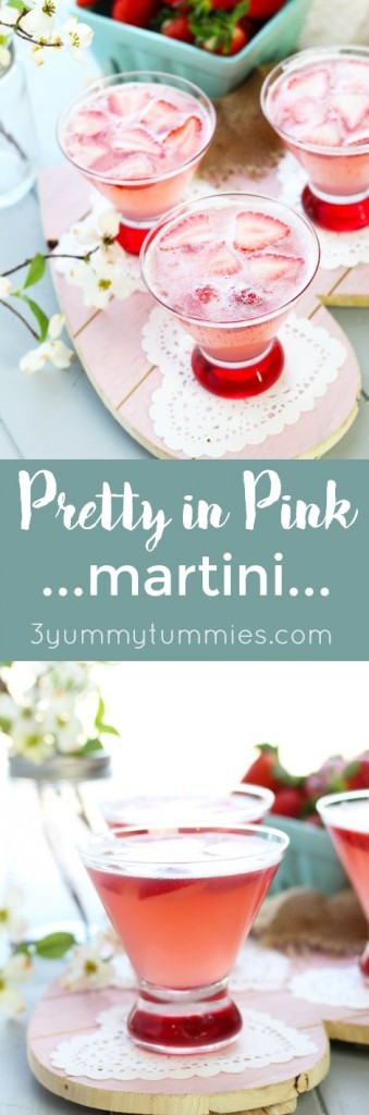 A Pretty in Pink Martini has only 3 ingredients and is perfect for Valentine's Day, baby and wedding showers!