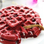 Red Velvet Waffles with White Chocolate Glaze