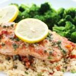Salmon Piccata with capers and sun-dried tomatoes is an easy, gourmet meal ready in under 30 minutes!