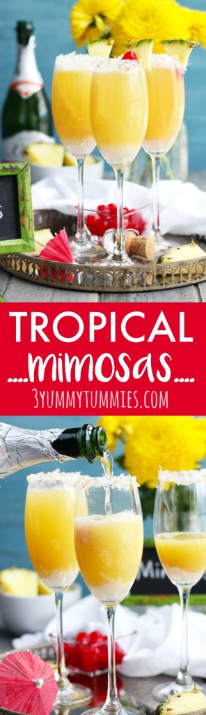 These Tropical Mimosas are perfect for brunch with pineapple and coconut flavors.