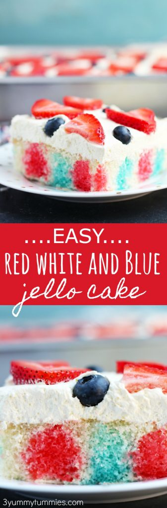 This Easy Red White and Blue Jello Cake has a light, cool whip and pudding icing with a fresh fruit topping.