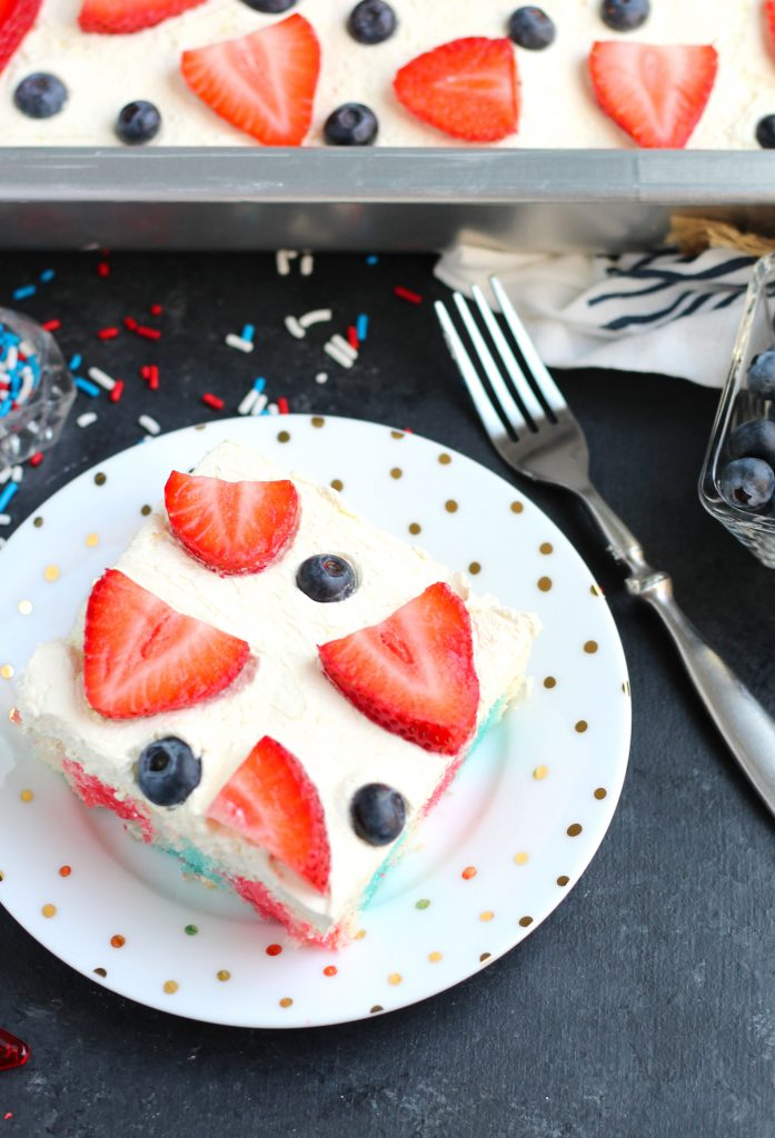 This Easy Red White and Blue Jello Cake has a cool whip and pudding icing with a berry topping.