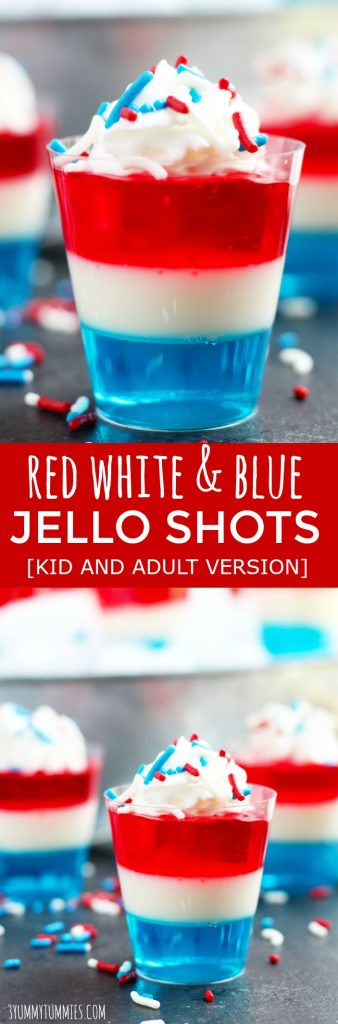 These festive, Red White and Blue Jello shots are perfect for summer holidays and BBQ's.  They can be made with or without the alcohol.