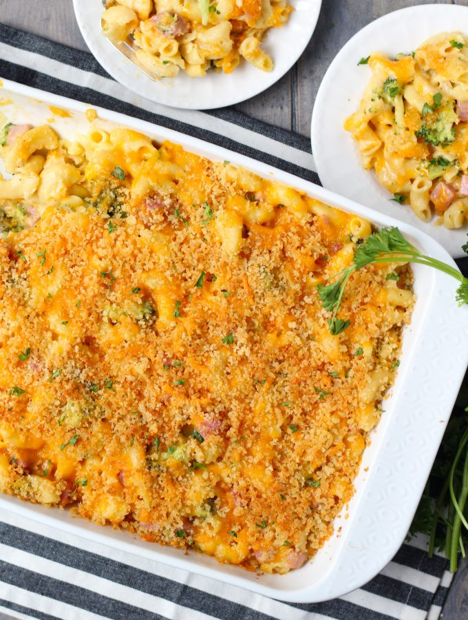 This Fancy Mac and Cheese has broccoli and ham with Parmesan and Panko bread crumb topping.