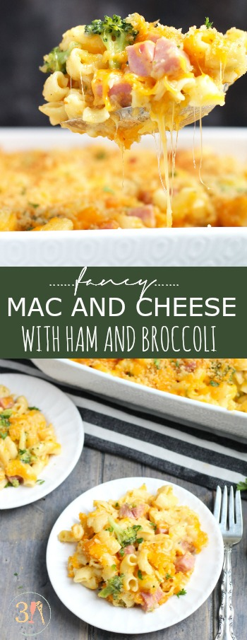 This Fancy Mac and Cheese with Broccoli and Ham is a complete meal with a Parmeasan and Panko crumb topping.