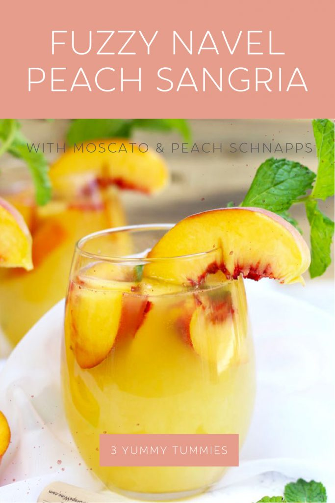 A Fuzzy Navel Peach Sangria is a celestial medley of everything that is right in this world. Plenty of fresh peaches get combined with a bottle of white Moscato, orange juice, peach schnapps, and vodka.