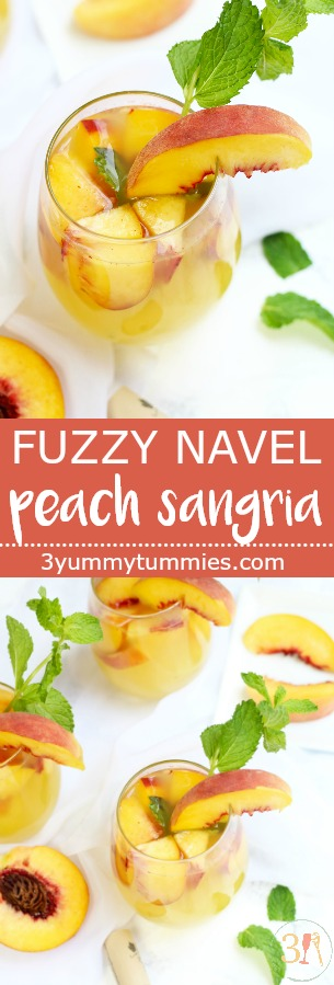 A Fuzzy Navel Peach Sangria is a combination of one of my favorite cocktails with Moscato and fresh peaches!