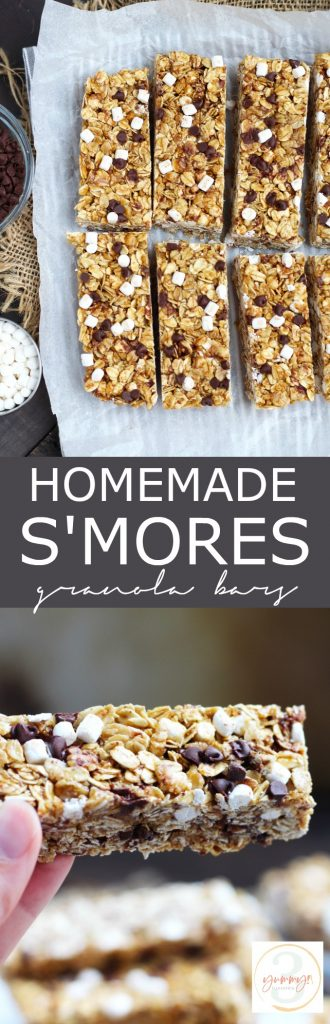 These Homemade S'mores Granola Bars are a great snack idea for the kids.  They are easily made and require no baking with marshmallows, chocolate chips and crushed graham crackers.  A bit of honey and molasses give these bars the perfect, chewy texture.