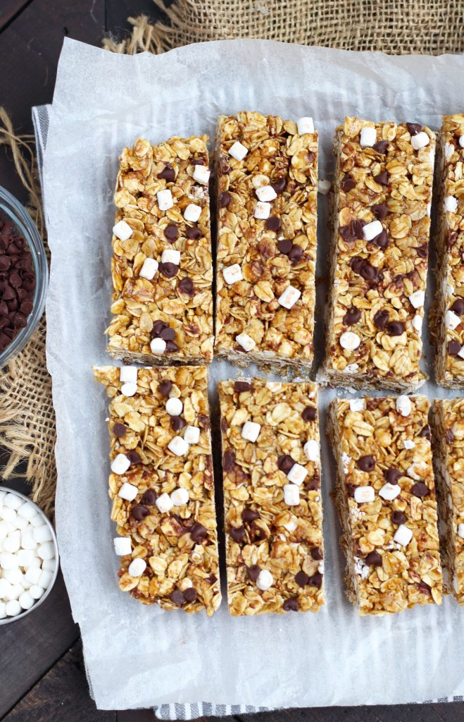 Homemade S'mores Granola Bars are perfectly chewy and make a great snack for kids.