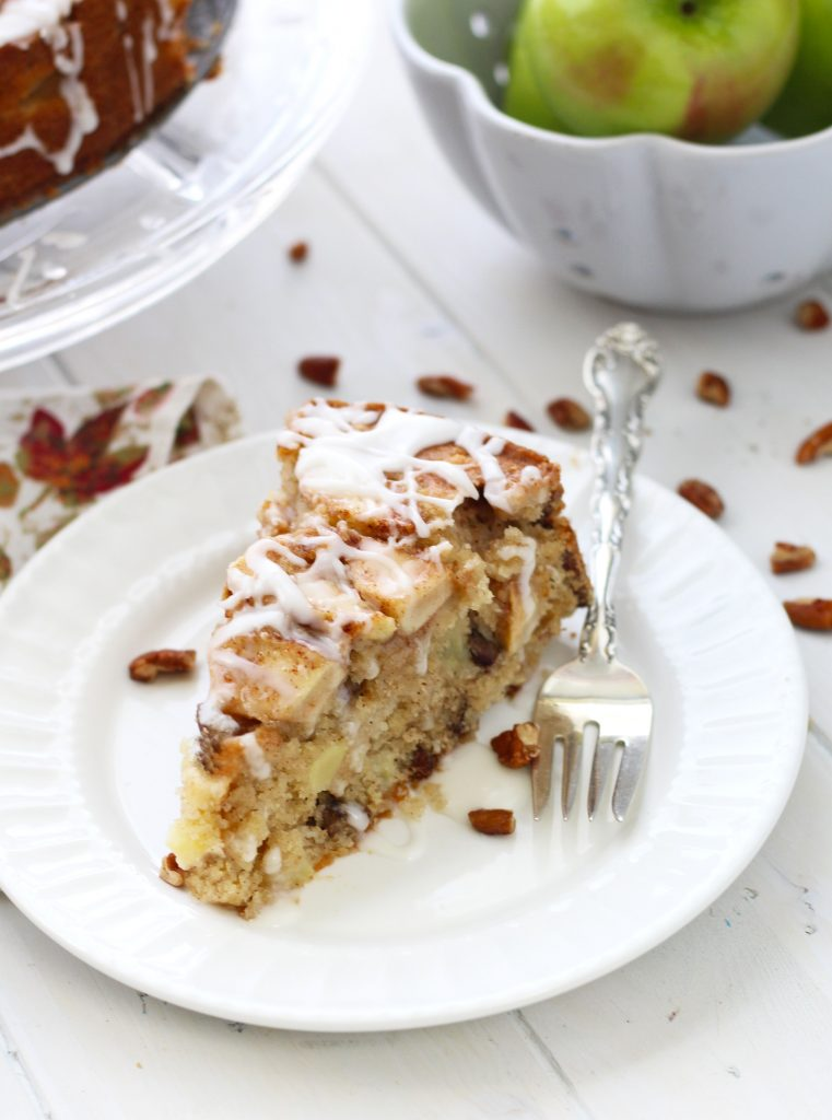 This decadent, Apple Buttermilk Brunch Cake is served warm with a buttermilk glaze on top.