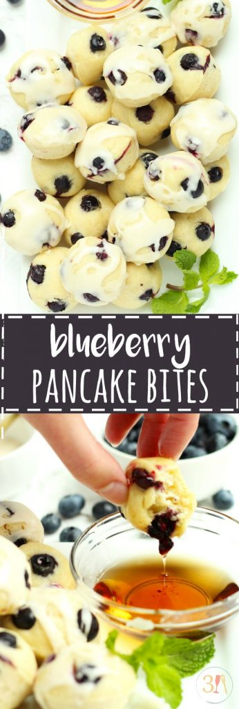 These Blueberry Pancake Bites with a maple glaze are perfect for an on-the-go breakfast.