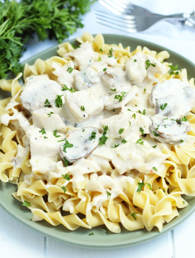 This creamy, Crockpot Chicken Stroganoff recipes requires little effort with cream of mushroom soup, cream, cheese, sour cream and Italian dressing seasoning.