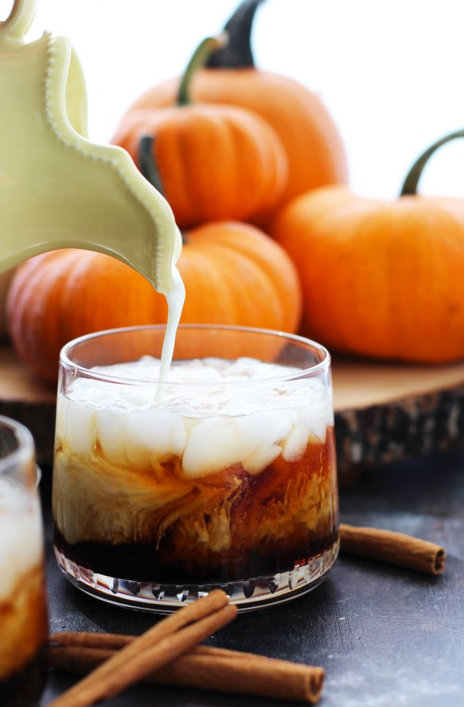 A Pumpkin Spice White Russian has the flavors of the classic cocktail with pumpkin spice creamer and a dusting of pumpkin pie spice.