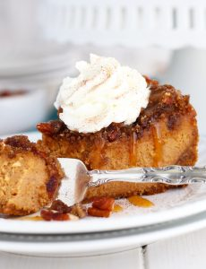 This Pumpkin Pecan Cheesecake gets baked with a decadent crispy, pecan topping.