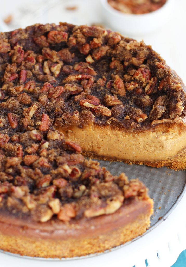 This scrumptious, Pumpkin Pecan Cheesecake will make a great addition to any holiday entertaining menu. The baked, pecan topping adds the perfect bit of crispiness to the smooth texture of the pumpkin spice flavored cheesecake.