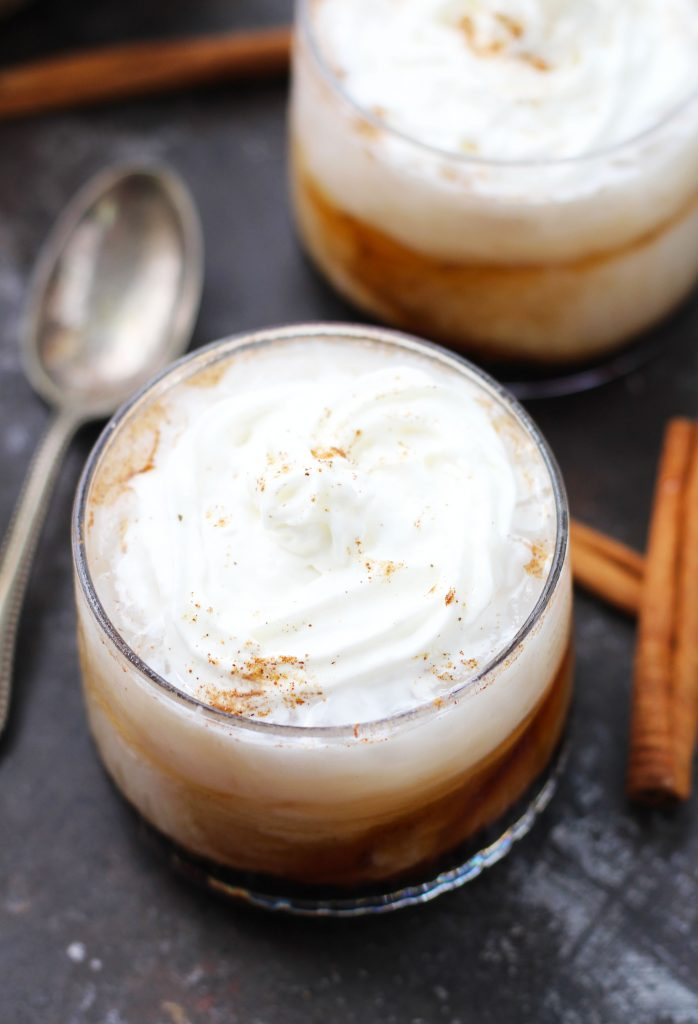 This Pumpkin Spice White Russian is a great spin on a classic cocktail for fall!  A splash of pumpkin spice creamer and a dash of pumpkin pie spice blend harmoniously with vodka and Kahlua.