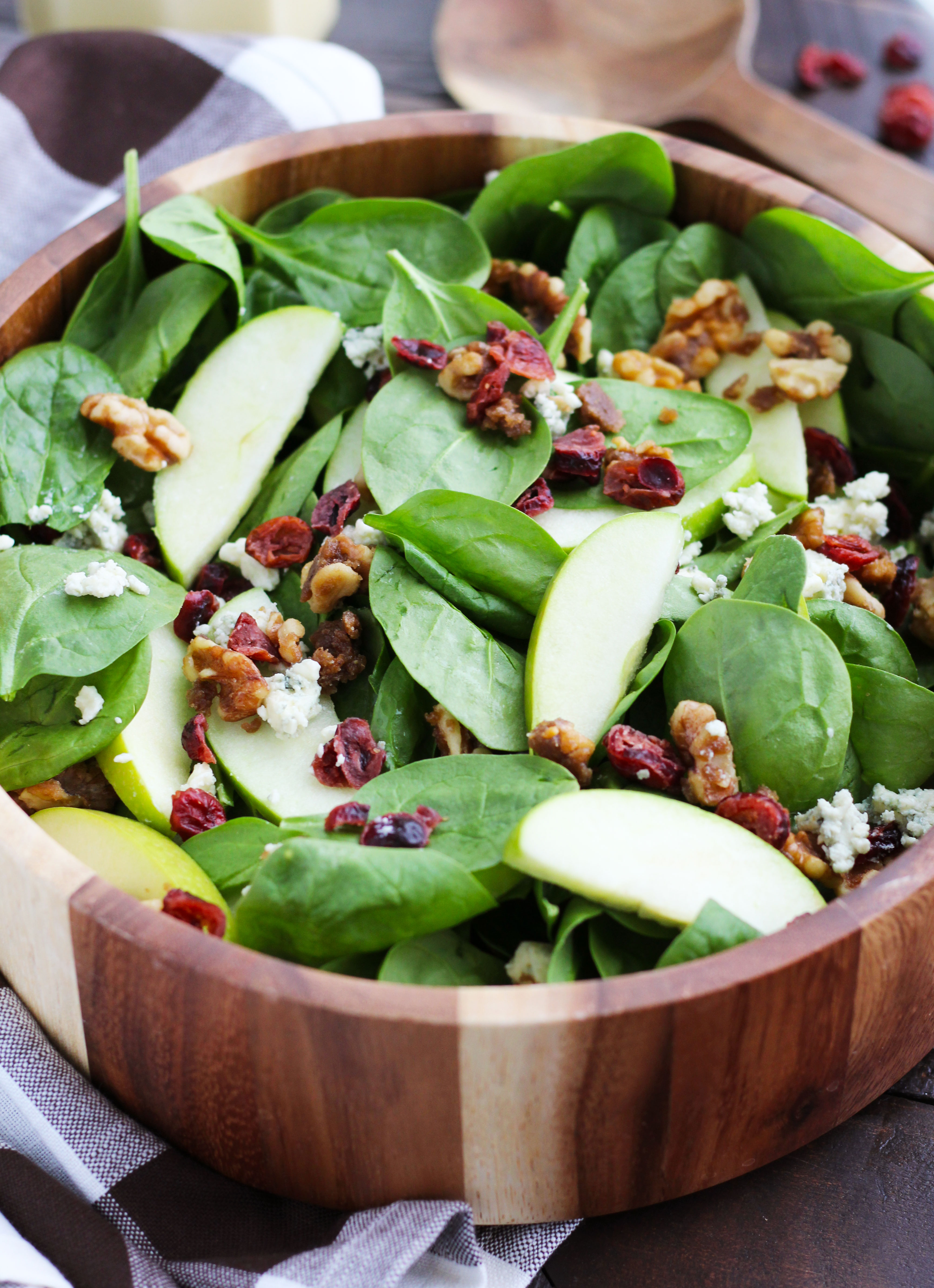 Apple Cranberry Spinach Salad With Candied Walnuts 3 Yummy Tummies