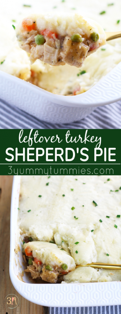 This Leftover Turkey Shepherd's Pie is a great way to use up all your post-Thanksgiving food just sitting in the fridge! Carrots, celery, onion and peas get simmered in a gravy sauce and baked with a topping of mashed potatoes.