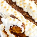 This Sweet Potato Casserole with Pecan Topping is easily put together the night before for a no fuss Thanksgiving day side dish.  The delectable brown sugar and pecan topping adds the perfect balance of soft and crispy textures.  Rows of marshmallows can be added for added sweetness and color.