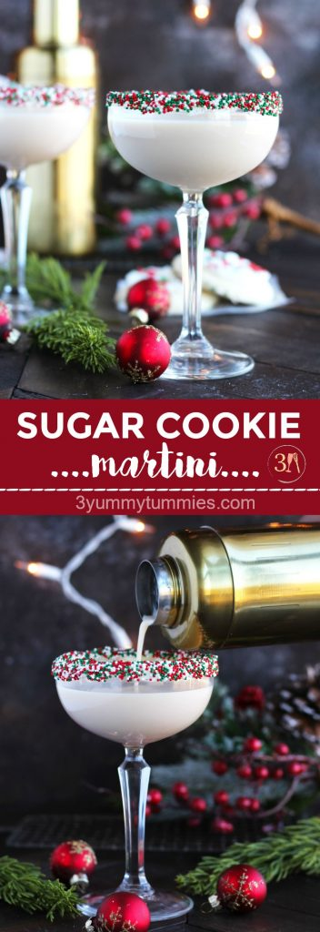 This festive, Sugar Cookie Martini is perfect for holiday entertaining with vanilla vodka, Baileys and amaretto.