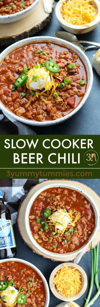 This easy, Slow Cooker Beer Chili can be made with ground beef or turkey.