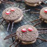 These Spider Chocolate Whoopie Pies are such a fun treat to make for Halloween with the kids. The are easily made with chocolate cake mix and a chocolate marshmallow creme filling.