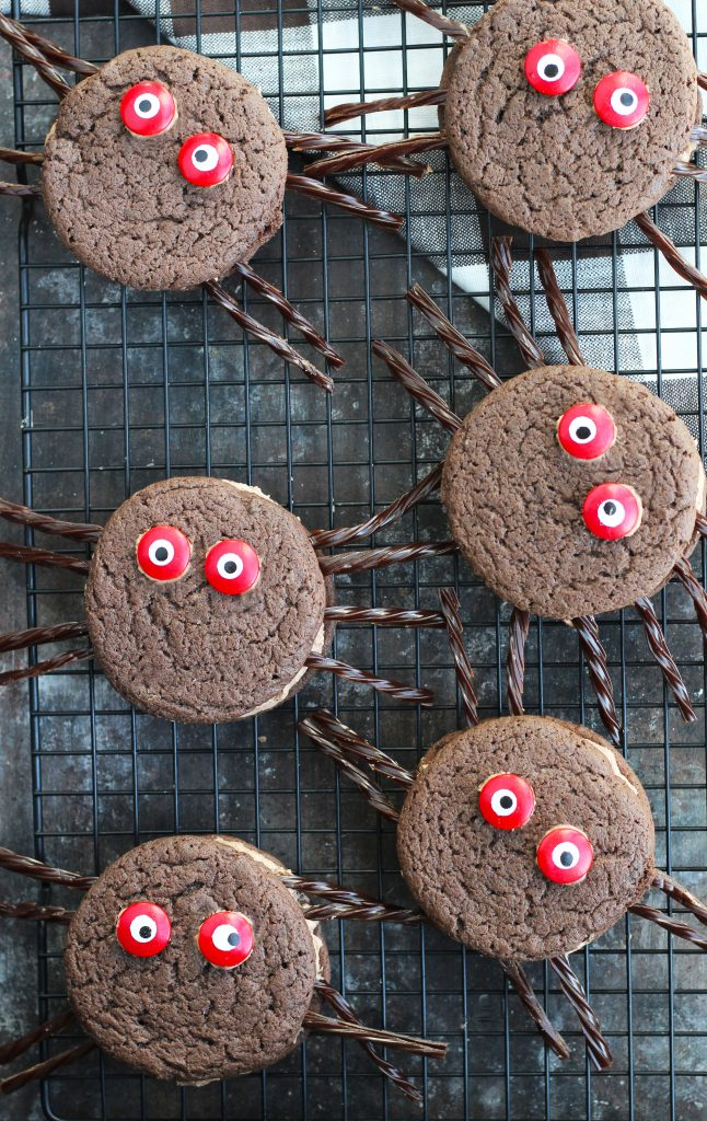 These Chocolate Spider Whoopie Pies are so fun to make with the kids for Halloween!  The cookies are easily made with a chocolate fudge cake mix and a dreamy, chocolate marshmallow creme filling.