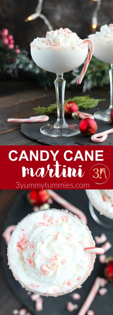 This Candy Cane Martini is perfect for the holidays with Godiva White Chocolate Liqueur, vanilla vodka and peppermint schnapps. A floating of whipped cream with a candy cane rim and garnishment make this dessert martini a festive treat.
