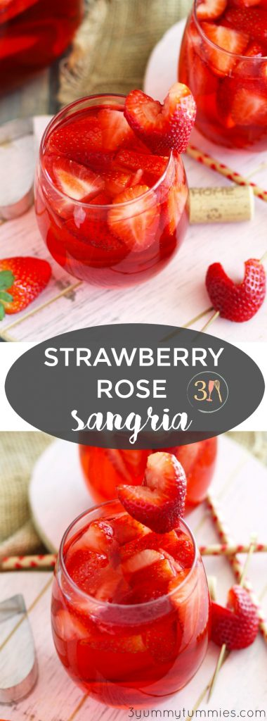This Strawberry Rose Sangria is a refreshing cocktail with Strawberry Schnapps, vanilla vodka, fresh strawberries and a splash of soda. Garnish with heart-shaped strawberries and share a pitcher with your sweetheart.