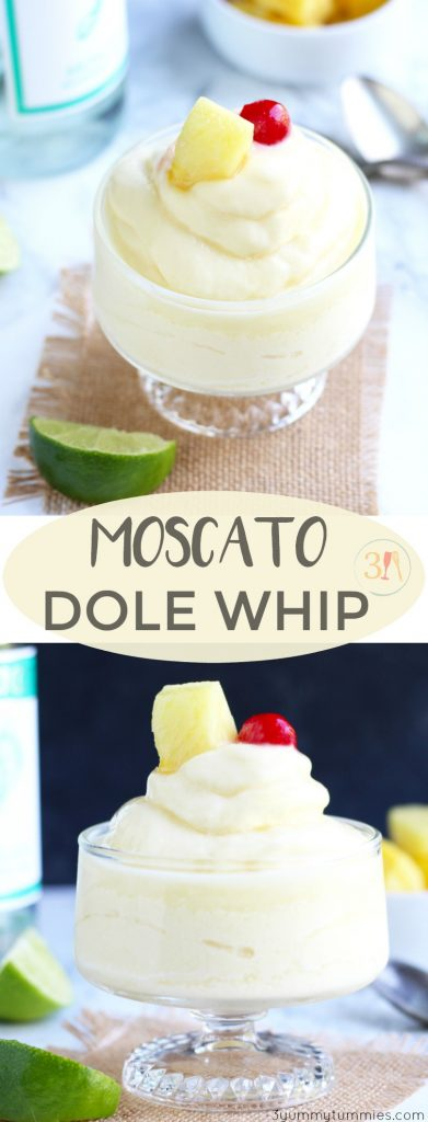 A Moscato Dole Whip will be your new favorite boozy dessert this summer.  Vanilla ice cream gets blended with frozen pineapples, pineapple juice, lime juice and your favorite, Moscato wine.