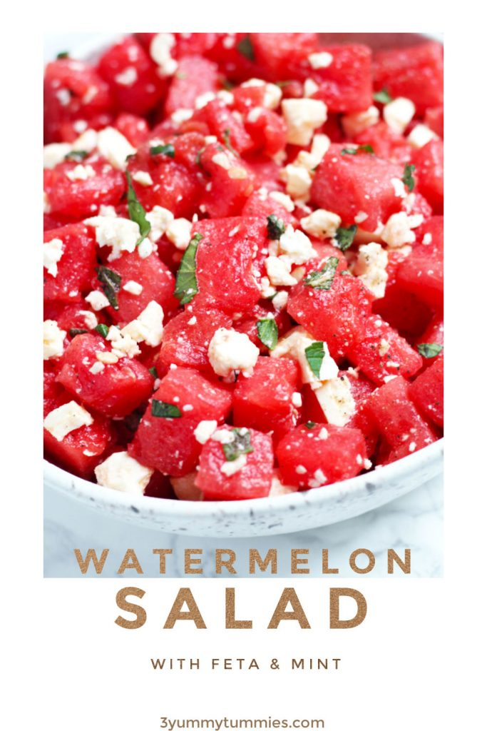 This Watermelon Salad with Feta and Mint is simple and refreshing for hot summer days. A bit of honey and lime adds to the sweet, watermelon flavors with a topping of feta and fresh mint leaves.