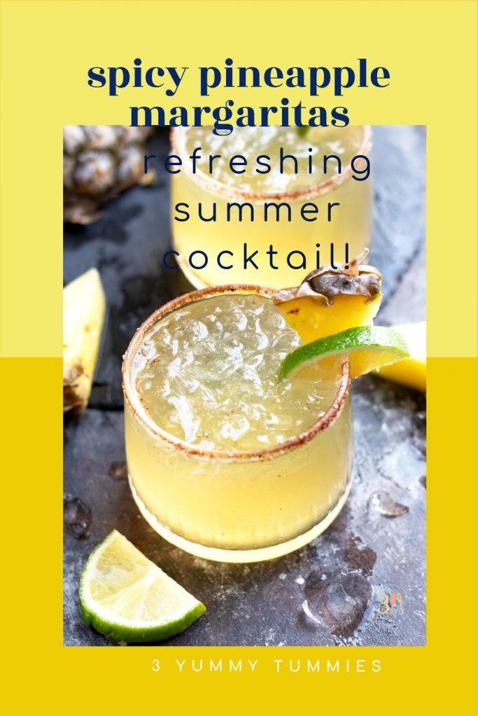 A Spicy Pineapple Margarita is a refreshing cocktail with hints of sweetness and spice created by Chile Liqueur. Serve it over ice with a salt and chili powder rim followed by a garnishment of fresh pineapple and lime.
