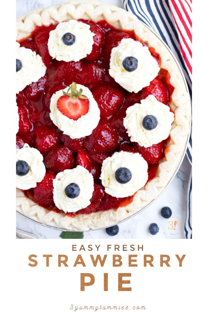 This Easy Fresh Strawberry Pie is perfect for summer BBQ's and 4th of July. It is easily prepared with pre-made pie crust with a fresh strawberry filling that is thickened with a bit of Jell-O and cornstarch.