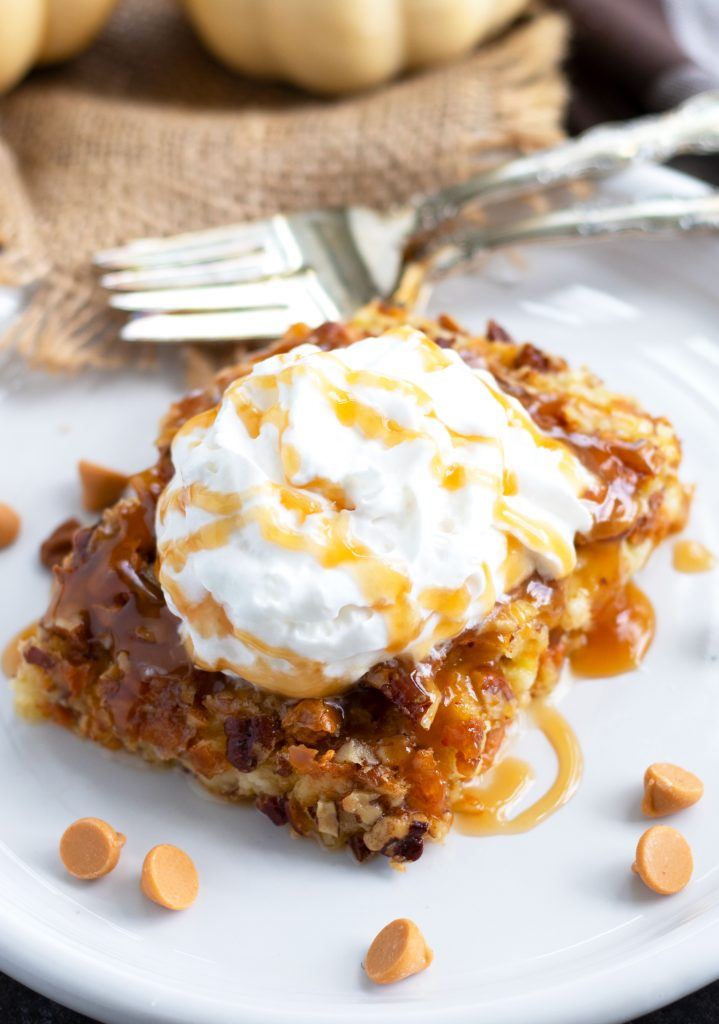 This easy, Pumpkin Dump Cake is sure to be a hit this fall. Vanilla cake mix is used as the base with pumpkin, evaporated milk and a pecan and butterscotch chip topping. Serve it warm with whipped cream and a caramel sauce topping for a truly decadent treat.