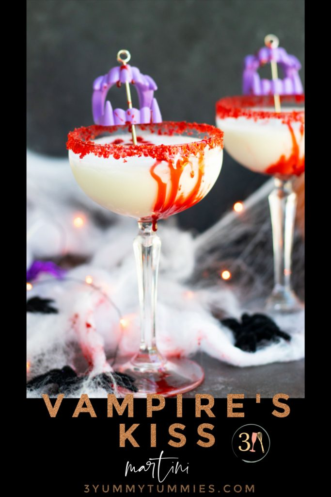 This Vampire's Kiss Martini will make the perfect addition to your upcoming Halloween parties. Vanilla vodka, Amaretto and pineapple juice make this cocktail sweet and flavorful. The addition of a bloody rim made from corn syrup and chocolate syrup creates a spooky presentation.